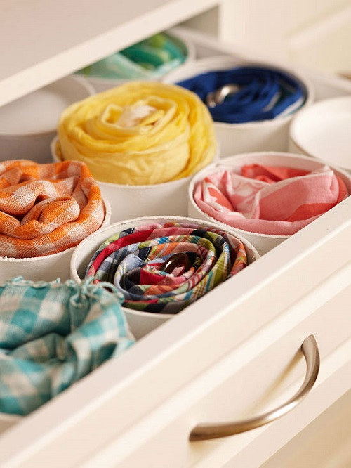 DIY SCARVES ORGANIZING HACKS 9
